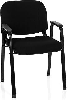 HJH Office 704340XT 650plástico negro Conferencias silla acolchada con reposabrazos, apilable