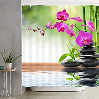 Bathroom Shower Curtain Zen Spa Shower Curtains with Hooks, Orchid Stone Bamboo Water Design Fabric Bathroom Curtain Durable Waterproof Bath Curtain Set