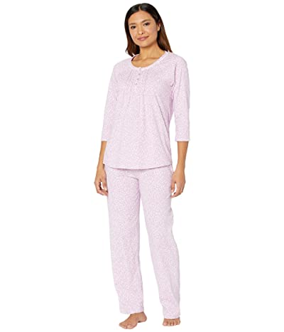 Carole Hochman Soft Jersey 3/4 Sleeve Long Pajama Set (Pink/White Floral) Women