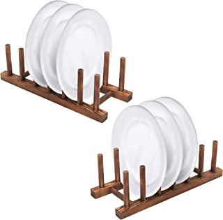 6 Slot Wood Dish Racks, Kitchen Countertop Plate Drainers, Set of 2, Dark Brown