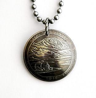 U.S. Quarter Domed Coin Necklace Great Sand Dunes Colorado 2014