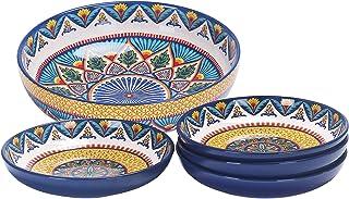 Bico Havana Ceramic Pasta Bowl, Set of 5(1 unit 214oz, 4 units 35oz), for Pasta, Salad, Microwave & Dishwasher Safe
