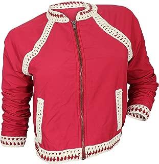 Women's Red Crochet Trim Baseball Jacket