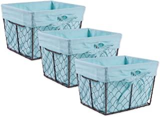 DII Vintage Chicken Wire Basket Removable Fabric Liner, Set of 3, Aqua