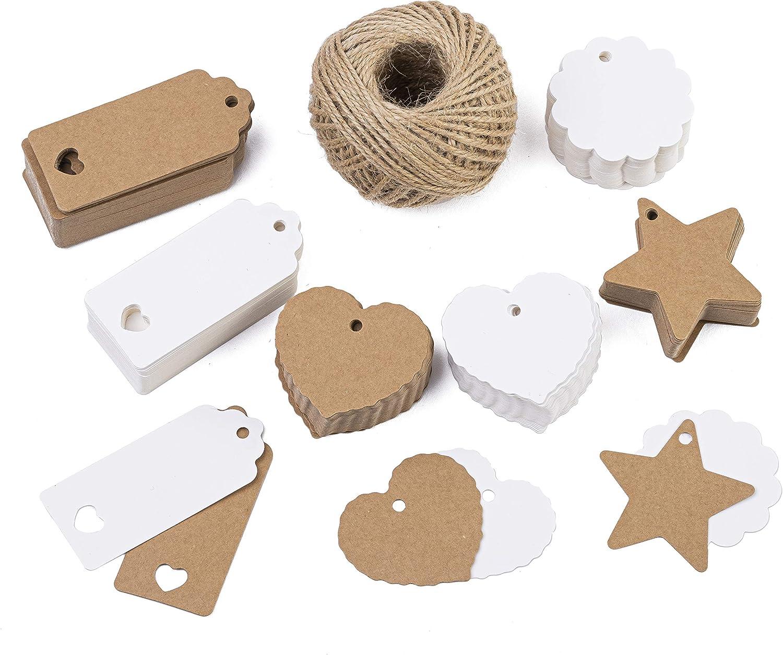 Tritart - Juego de colgante de papel de estraza de 300 piezas + 50 m de cuerda de yute I colgante de papel de diferentes formas I etiquetas de regalo I colgante de regalo