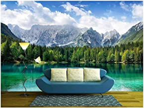 wall26 - Beautiful Landscape with Turquoise Lake, Forest and Mountains - Removable Wall Mural   Self-Adhesive Large Wallpaper - 100x144 inches