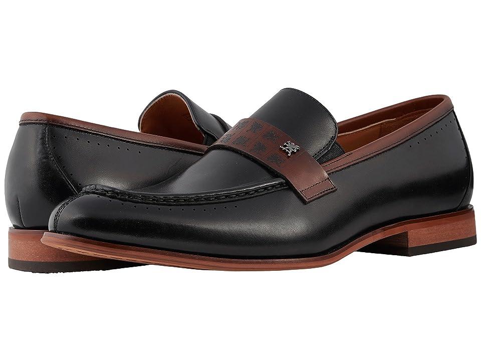 Stacy Adams Sussex Moc Toe Penny Loafer (Black/Cognac) Men