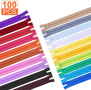 10Inch Zippers, A+Selected 100pcs Sew Zippers 20 Assorted Colors Nylon Zippers Closed End Zippers for DIY Tailor sewing Crafts, Purse Bags and other handicraft