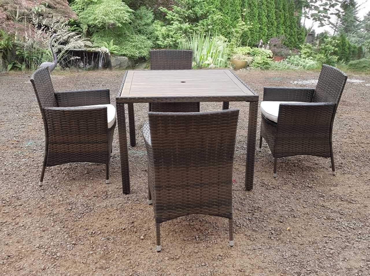 Ratán mimbre conservatorio cubo de madera al aire libre muebles de jardín patio mesa silla Set, 4 seater brown: Amazon.es: Jardín