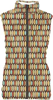 Rainbow Rules Surf Boards Retro Style Womens Puffer Vest Bodywarmer Gilet