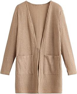 Romwe Girl's Open Front Cardigan Long Sleeve Pocket Knit Sweater Cardigan