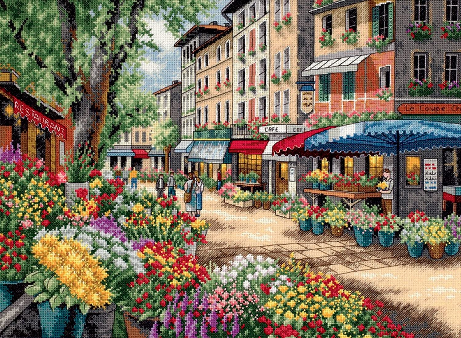 Dimensions Dimensions Dimensions D35256 Paris Market Picture Counted