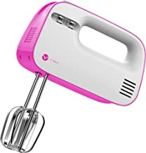 Vremi 3-Speed Compact Hand Mixer with Clever Built-In Beater Storage - Handheld Egg Beater with Stainless Steel Blades - Heavy Duty Mini Small Kitchen Mixing Machine - Pink and White