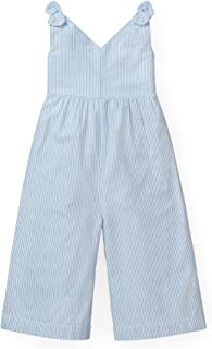 Hope & Henry Girls' Wide Leg Sleeveless Jumpsuit with Bow Shoulders