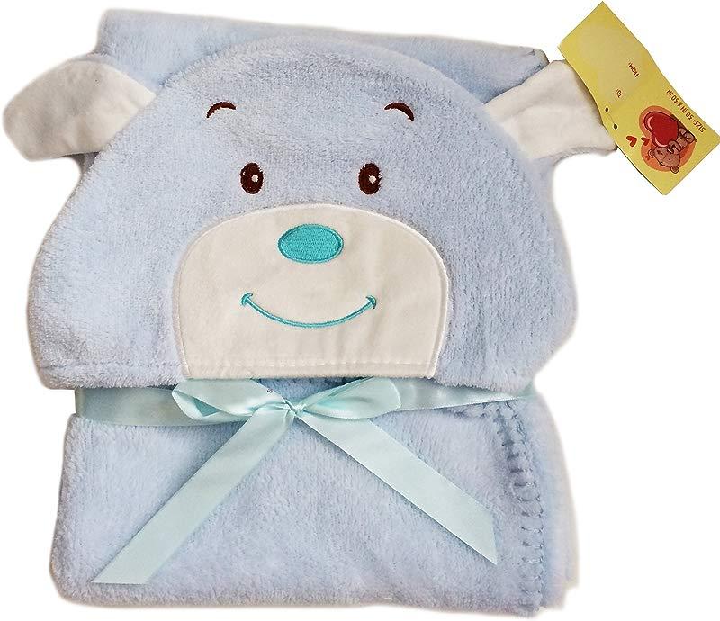 Super Velvet Soft Plush Lightweight Furry Fleece Sherpa Minky Hooded Blue Bear Kids Toddler Children S Baby Blanket