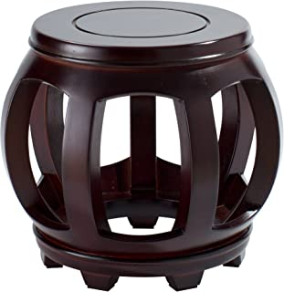 Decorative Hardwood Birch Footstool Water Resistant Multipurpose Durable Sturdy Non-Slip Surface & Feet Wooden Round Step Stool for Living Room Bedroom Patio - Light & Dark Available (Dark Wood)