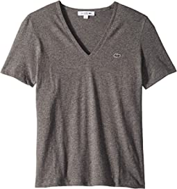 Short Sleeve Solid V-Neck Jersey Tee