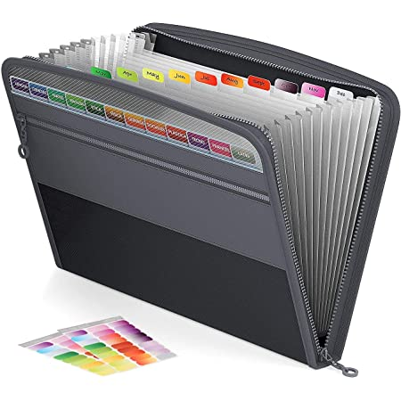 Corslet File Folders for Documents Large Size 13 Pocket Double Zipper Organ Bag Transparent Window A4 Multi-Layer Files for Documents and Certificates Storage Bag (Black)