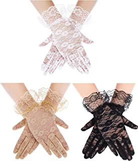 3 Pairs Women Lace Gloves Floral Lace Gloves Sun Protection Lace Gloves Dressy Gloves for Wedding Dinner Parties