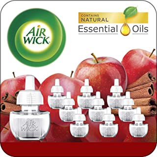 Air Wick Plug in Scented Oil 10 Refills, Apple Cinnamon, Fall Scent, Fall Spray, Essential Oils, Air Freshener