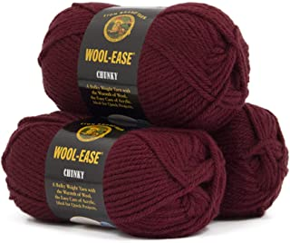 Lion Brand Yarn Wool Ease Chunky Mulberry 630-188 3 Pack Classic Yarn