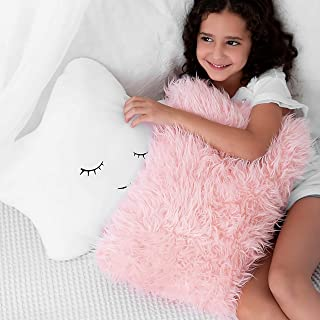 Set of 2 Decorative Throw Pillows for Baby Girls, Kids. Star Furry White w/ Cute Embroidered Sleeping Face and Fluffy Pink Faux Fur, Soft and Plush - For Crib - Nursery Toddler or Teen Bedroom Décor