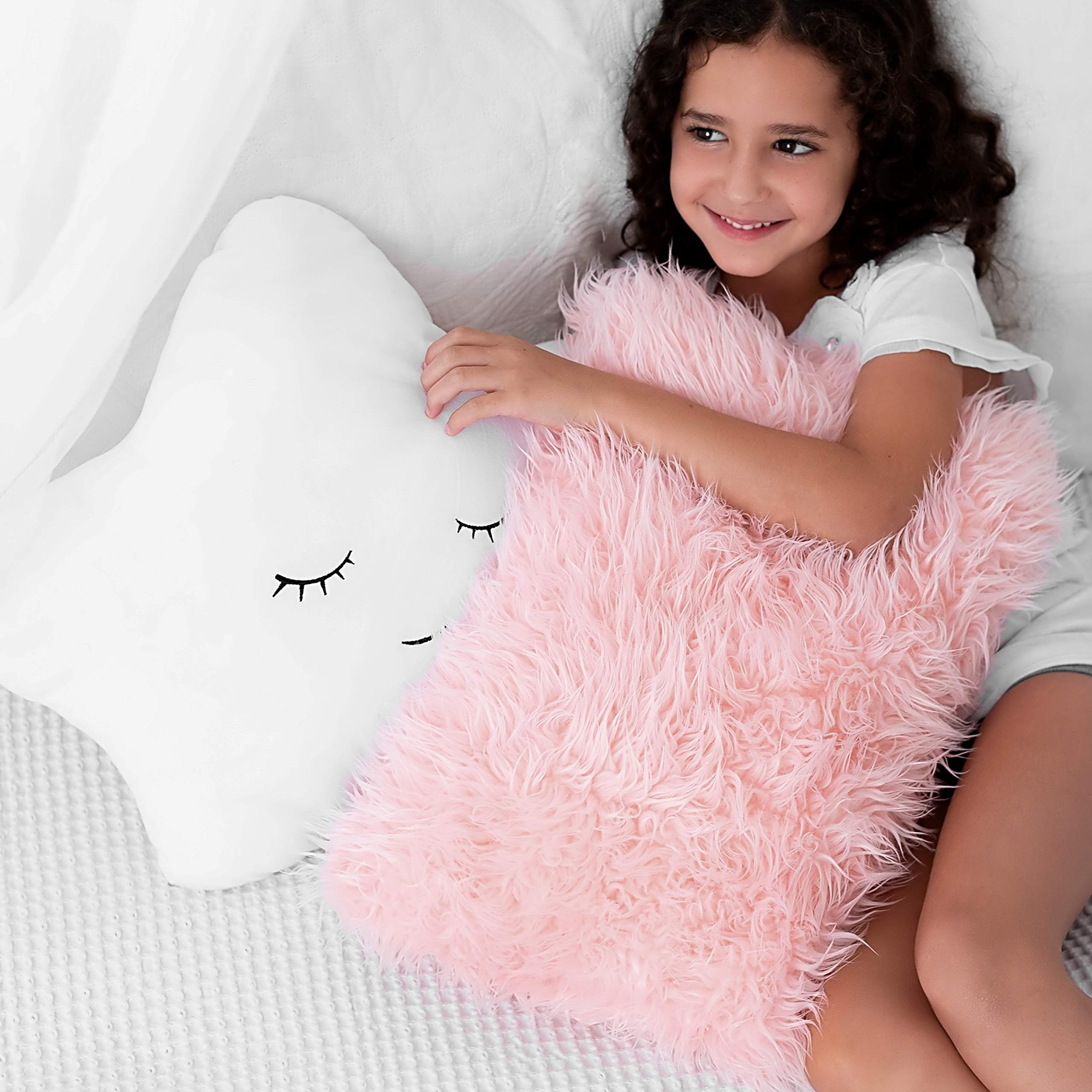 Set Of 2 Decorative Pillows For Girls Toddler Kids Room Star Pillow Fluffy White Embroidered And Furry Pink Faux Fur Pillow Soft And Plush Girls Pillows Throw Pillows For Kid S Bedroom