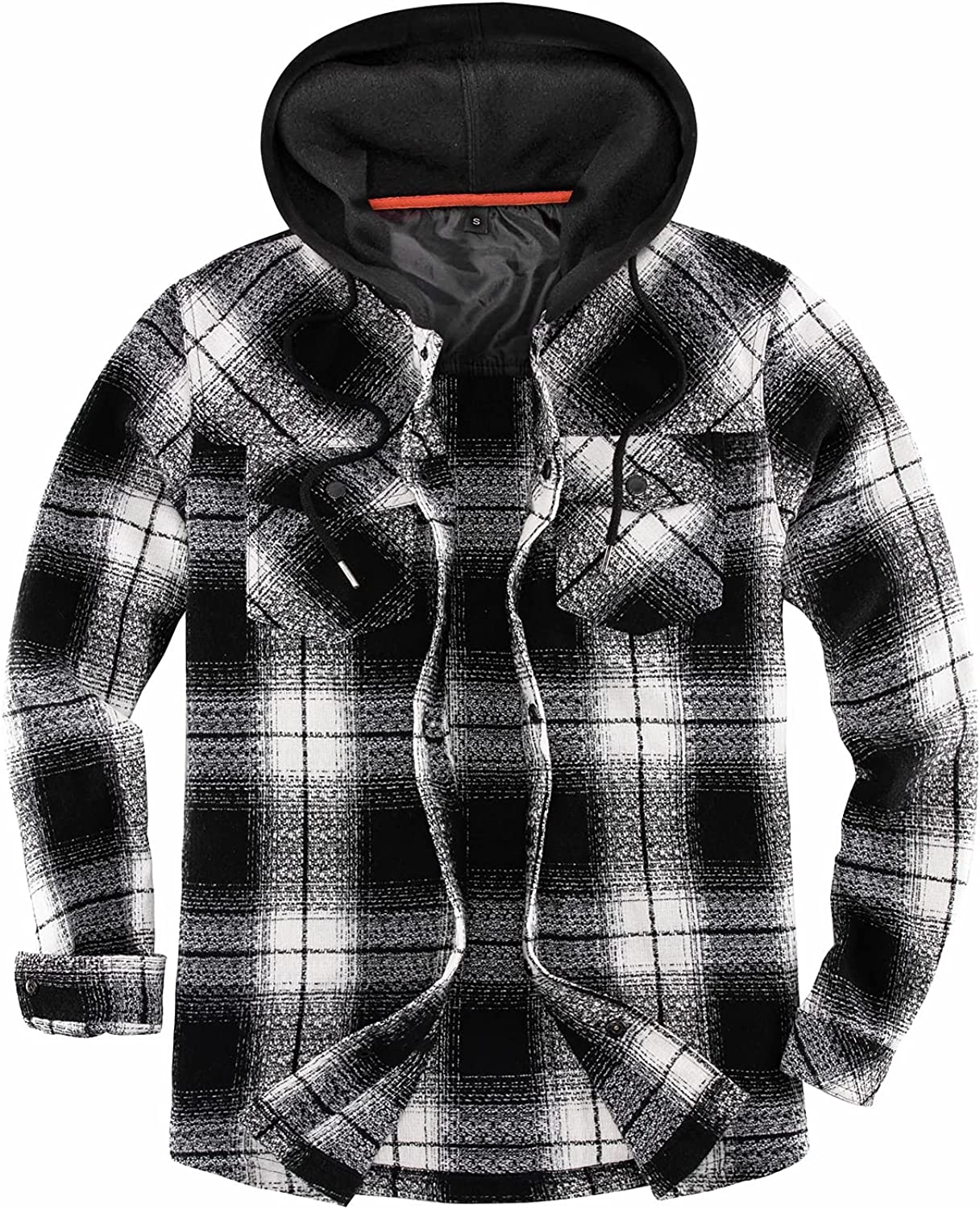 ThCreasa Mens Plaid Hooded Flannel Shirt Jacket, Button Down Flannel Jackets with Hand Pockets