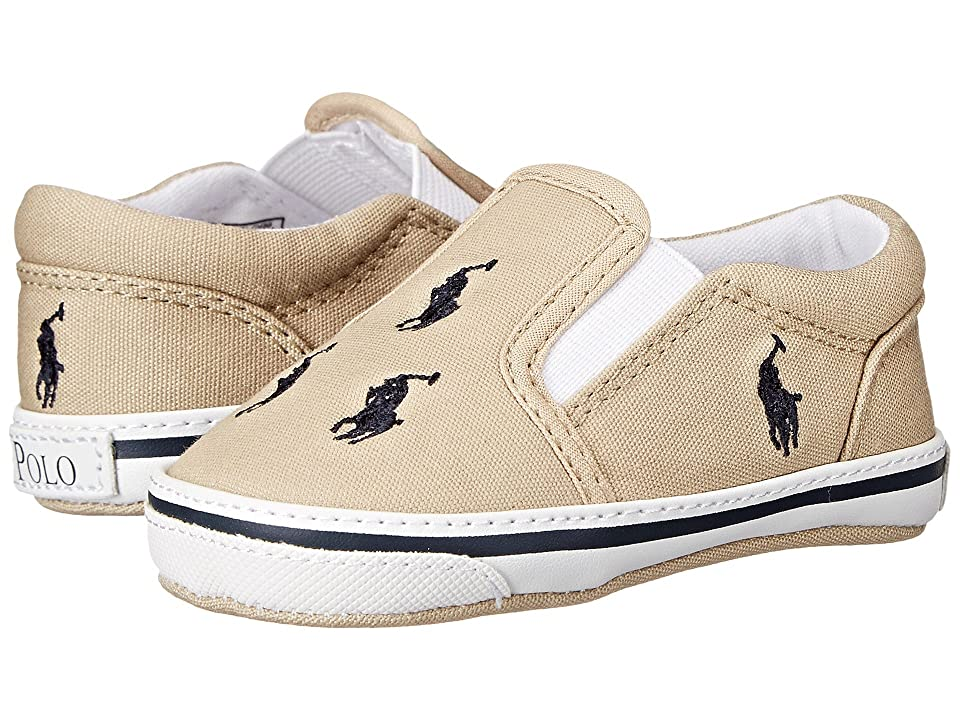 Polo Ralph Lauren Kids Bal Harbour Repeat Soft Sole (Infant/Toddler) (Khaki/Navy Canvas) Boy