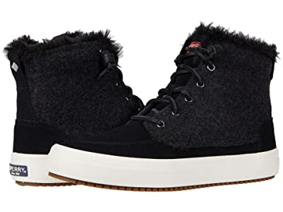 Sperry Crest Lug High-Top Quilted Cozy Suede (Black) Women