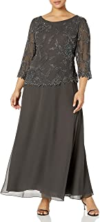 J Kara Plus Size Womens Scoop Neck Line with 3/4 Sleeve Beaded Top Long Dress
