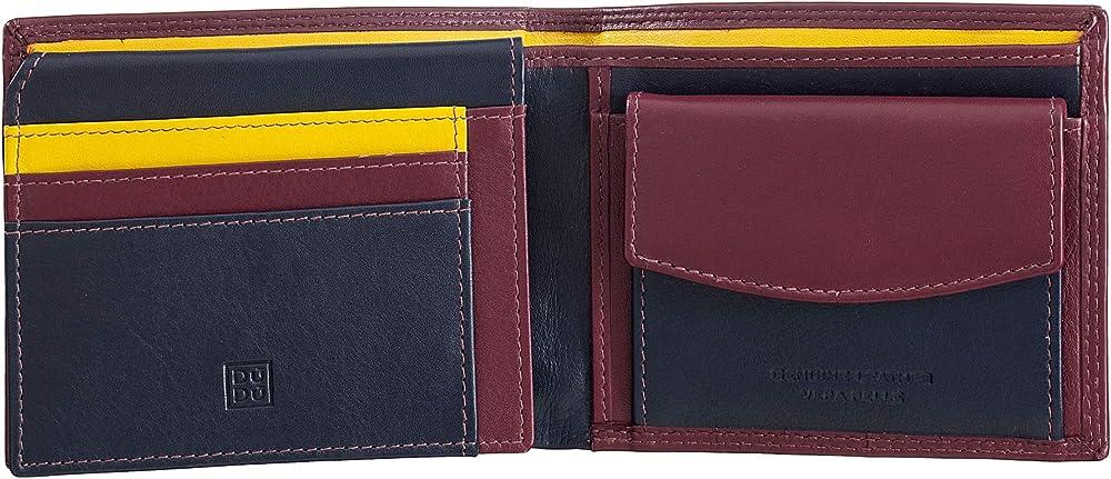 Dudu portafoglio porta carte di credito con protezione anticlonazione multicolore in pelle per uomo 8031847170351