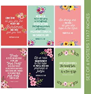 Bible Verse Posters | Christian Wall Decor Decorative Prints Come with Sticky Squares for Easy Installation | 11x17 Bible Verse Wall Art | Religious Gifts | Set of 6 Scripture Wall Art