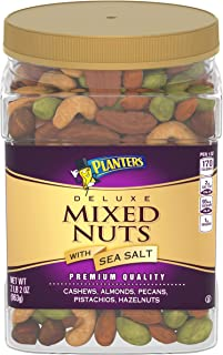 PLANTERS Deluxe Salted Mixed Nuts, 34 oz. Resealable Canister - Contains Cashews, Almonds, Pecans, Pistachios & Hazelnuts Seasoned with Sea Salt