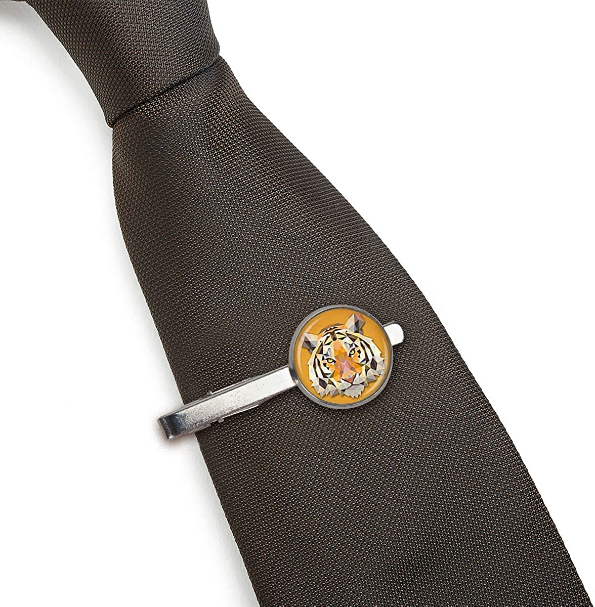 LooPoP Men Tie Clip Tiger Animal Art Tiger Image Stainless Tie Pins for Business Wedding Shirts Tie Clips Include Gift Box