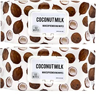 Body Prescriptions Coconut Milk with Vitamin C Wipes & Makeup Remover Wipes - 2 Pack (60 Count Each) of Gentle Facial Cleansing Wipes – Flip Top Pack