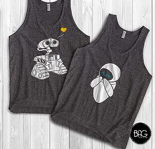 Wall-e and Eve Shirts Disney Couples tank tops Wall-e Custom Matching tank tops Couple tank tops vacation tank tops