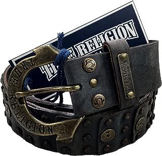 Womens True Religion Jeans Belt Leather Vintage Black Studded Hardware Logo Horseshoe Buckle