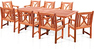 VIFAH V232SET17 Rectangular Extension Table and Wood Armchair Outdoor Dining Set