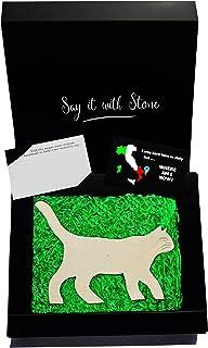 Gatto che cammina Fatto a Mano in Italia - Con Frammenti Fossili - Incl Confezione Regalo e Bigliettino in Bianco - Simbol...