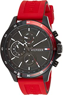 Tommy Hilfiger men's Black Dial Red Silicone Watch - 1791722