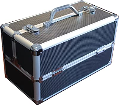 Black Aluminum Like Hard Makeup Train Case Store and Carry