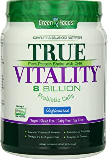 Green Foods True Vitality Plant Protein Shake, Unflavored, 22.7 Ounce