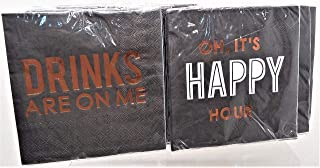 """Happy Hour & Drinks On Me 3 Ply Party Black Paper Napkins 9.75"""" Square 6 Packages 60 Total Count"""