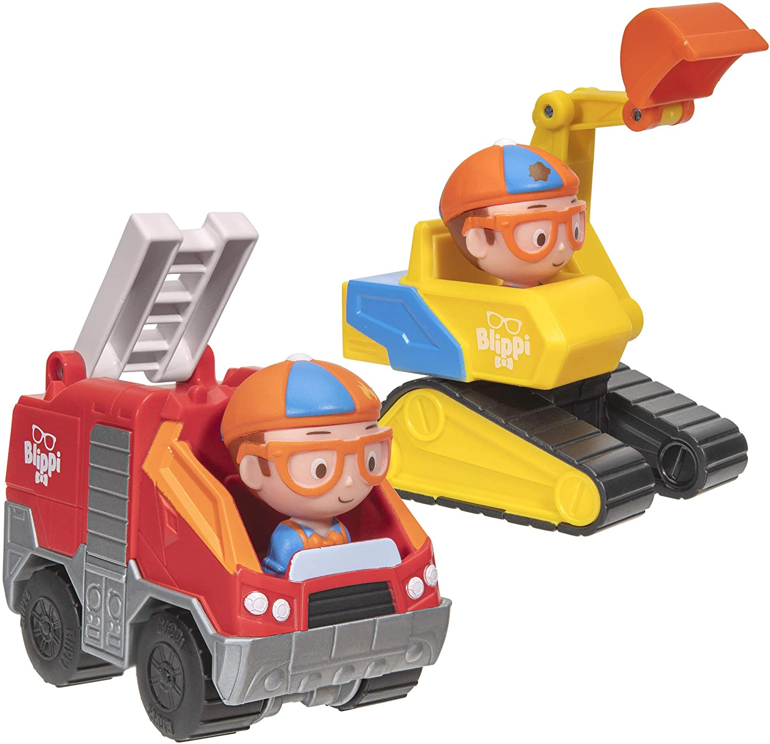 Blippi Mini Vehicles, Including Excavator and Fire Truck, Each with a Character Toy Figure Seated Inside - Zoom Around The Room for Free-Wheeling Fun - Perfect for Young Children: Toys & Games