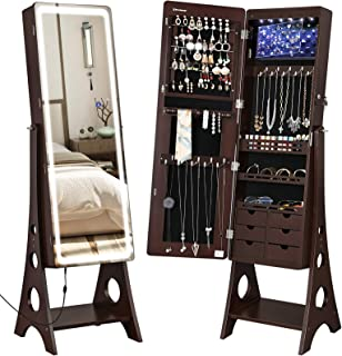 SONGMICS Jewelry Cabinet Armoire with Adjustable Light Ribbon on Beveled Edge Mirror, Jewelry Organizer with Interior 6 LED Lights, Brown UJJC67BR