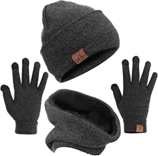 mysuntown Winter Hat Beanie Scarf Gloves 1-3 Pieces Womens Hat and Glove Set Soft Thick Knit Skull Cap for Men Women