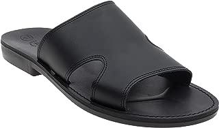 NIMI Men's Leather Flat, Slider, T-Strap Retro Sandals (10, Black)