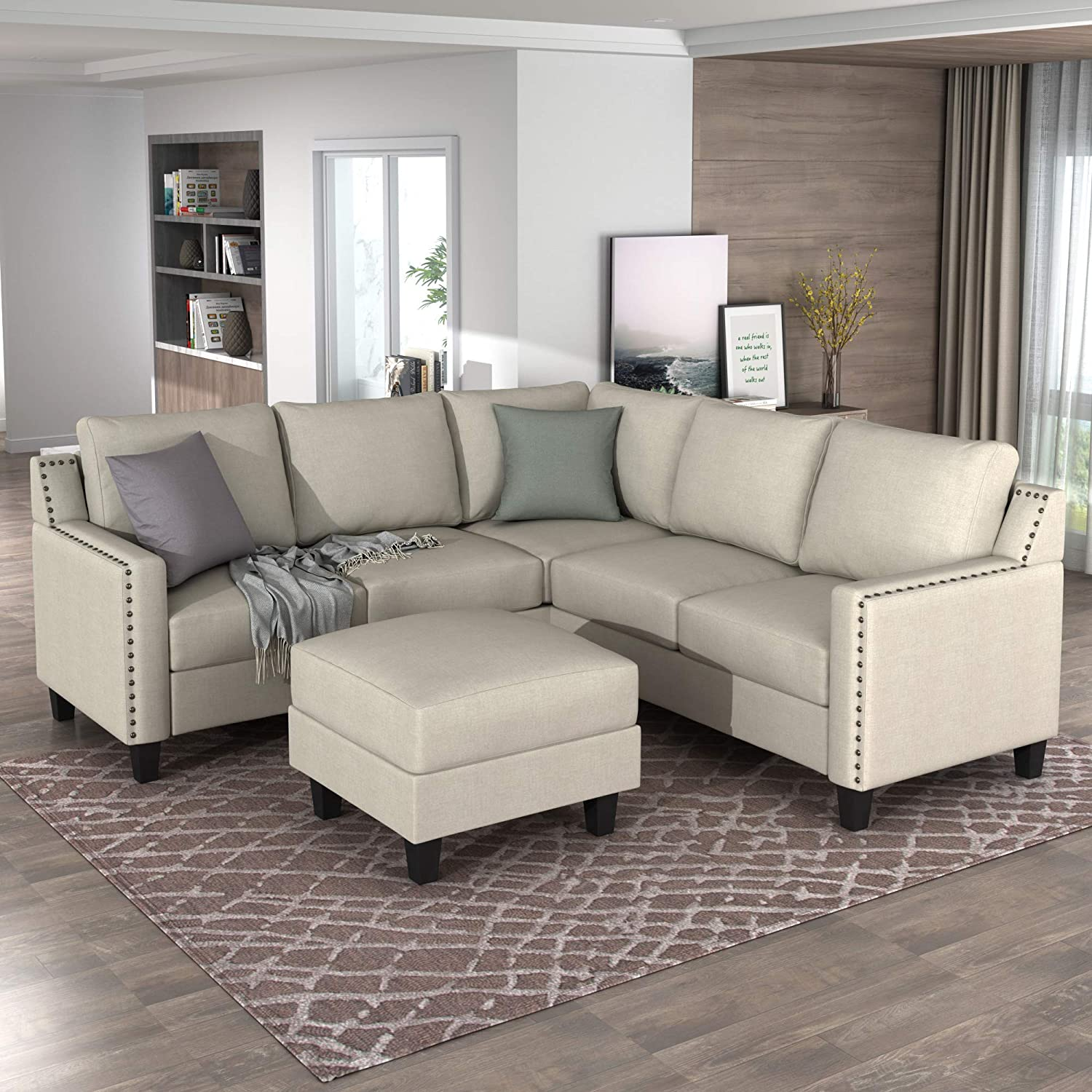 GAOPAN Max 42% OFF Super-cheap Classical Style Soft Sof Upholstered Sectional Microsuede