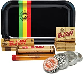 Bundle - 12 Items - Raw King Size Cigarette Rolling Papers (4 Packs), RAW Pre-Rolled Tips (4 Packs), RAW 110mm Roller with Rolling Paper Depot Rolling Tray (Rasta Racer), Grinder and XL Doob Tube